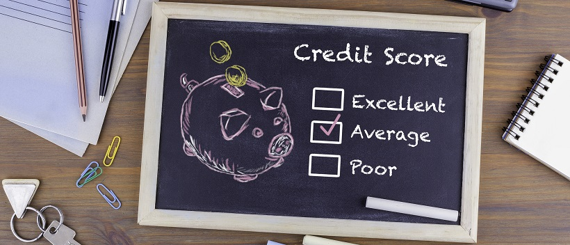 "Chalkboard that says ""Credit Score"" and boxes with options for ""Excellent"", ""Average"", and ""Poor"" and ""Average"" is checked."